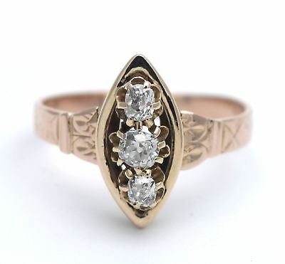 Antik Um 1890: Ring 0,50 Ct Diamant In 750 / 18 Kt Gold Museale Handarbeit