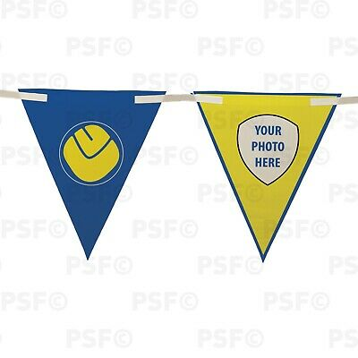 Official LUFC Bunting 10 Piece Triangle Smiley Crest Add Photo Leeds United FC