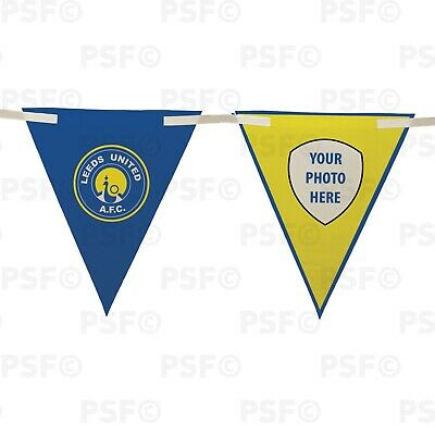 Official LUFC Bunting 10 Piece Triangle Peacock Crest Add Photo Leeds United FC