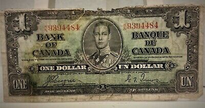 "1937 Bank of Canada One Dollar Banknote PREF#K/N ""Circulated"""