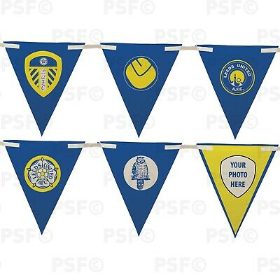 Official LUFC Bunting 10 Piece Triangle Crest Mixture Add Photo Leeds United FC