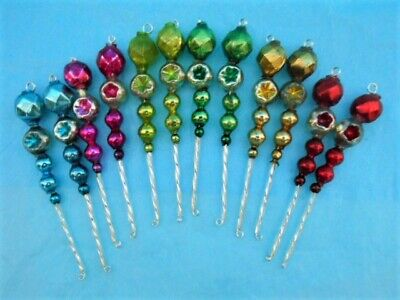 12 Small Vintage Glass Bead Icicle Tree Ornaments ~ Multi Color Indents, Facets