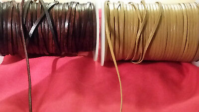 3mm X 1M FLAT STRAP 100% REAL LEATHER STRONG THONG LACE CRAFT ROPE STRING WRAPS
