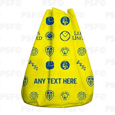 Official LUFC Duffle Flag Shoulder Bag Personalised Yellow Retro Leeds United FC