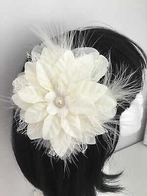 Wedding Bridal Ladies Ivory Flower Hair Clip Fascinator Lace & Ivory Feathers