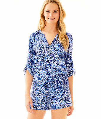 a006b57be927 Lilly Pulitzer NWT Bryce Romper in Bright Navy Taverna Tile - Stunning  Pattern -