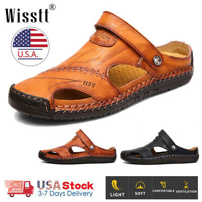 Mens Brown Leather Safety Closed Toe Outdoors Sandals Casual Shoes Size 8-12 US