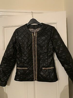 Faux Quilted leather black coat chain Candy Couture 12-13 years
