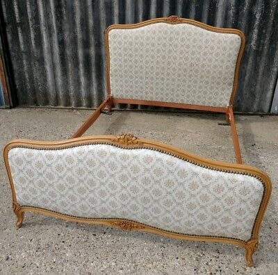 French Antique Upholstered Double Bed Frame