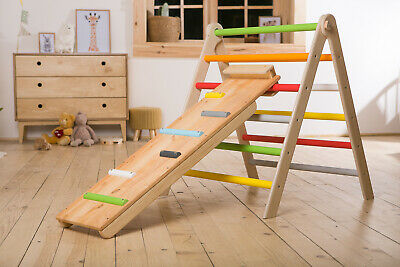 Wooden Climbing Frame Pikler Triangle Activity Center With Slide Ramp Indoor Gym