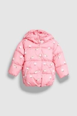 BNWT NEXT Girls Pink Unicorn Print Padded Hooded Coat Jacket 18-24 Months