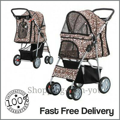 Leopard Pet Stroller Pushchair Dog Puppy Cat Animal Pram Buggy Travel Carrier