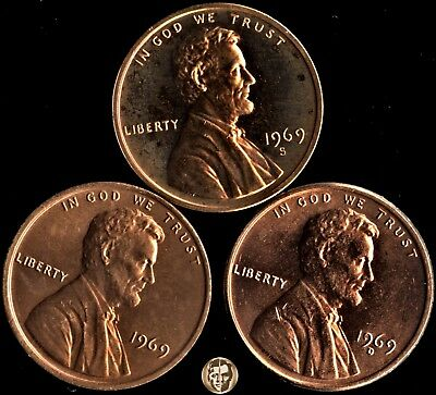 1969 (P) D S Lincoln Memorial Cents Year Set - 2 coins BU (PD) & 1 Proof Cam (S)