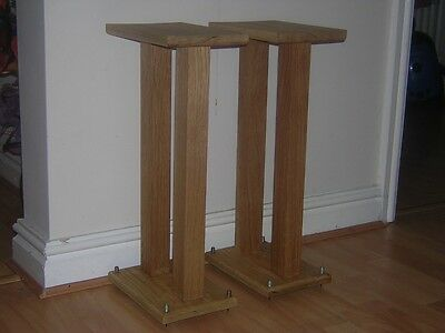 Handmade Solid Oak Speaker Stands With Spiked Feet