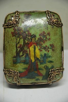 Exquisite Chinese Copper inlay porcelain Handmade Box