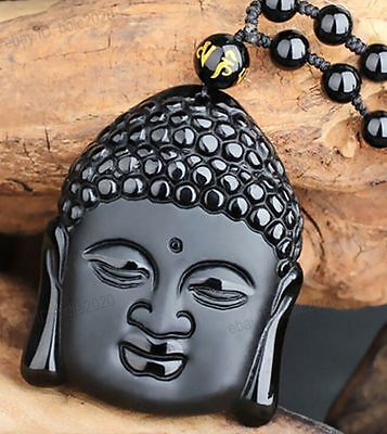 Chinese Natural Obsidian Carved Buddha Head Lucky Amulet Pendants free Necklace