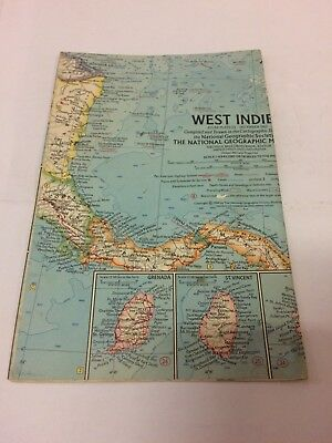 National Geographic Atlas Plate December 1962, West Indies Map - Free Shipping