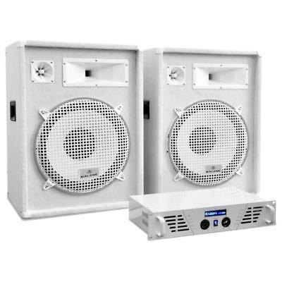 """Pa System White Dj Set 1600W 15"""" Speakers Amplifier Amp Events Clubs Lounges New"""
