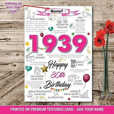1939 80TH BIRTHDAY Personalised
