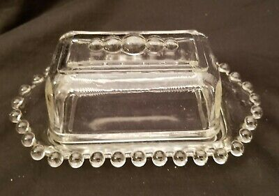"Rare, Vintage Imperial Glass Ohio ""Candlewick"" Ca Butter Dish, 5 Bead Top"