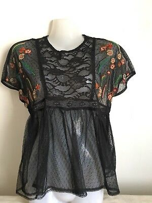 202c9f0ae040e6 ZARA WOMAN Black Spotted Lace Floral Embroidered Top Size XS Uk 6-8