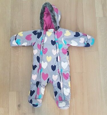 Marks and Spencer snowsuit pram suit 3-6 months grey hearts girls fur M&S #B1