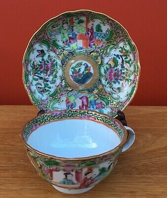 Antique Late 19th Century Chinese / Cantonese Porcelain Cup and Saucer