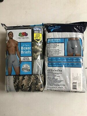 Fruit Of The Loom Mens Camouflage 4-Pack Boxer Briefs Tag Free 100% Cotton 2X 3X