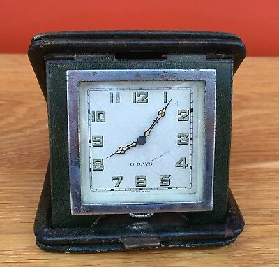 1930's / 40's Art Deco Travelling / Desk Clock 8 day In Leather Case