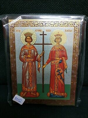 Saint Constantine and Helen / Eleni Greek Orthodox Byzantine Icon 12.5x9.5cm