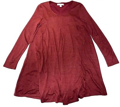 Ya Los Angeles Women's S Rust Red Long Sleeve Lined Pleated Tent Dress GUC