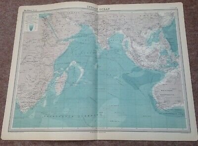 """VINTAGE """"INDIAN OCEAN"""" MAP c1920 - VERY GOOD USED CONDITION"""