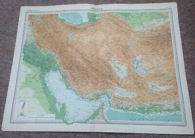 """VINTAGE """"PERSIA"""" MAP c1920 - VERY GOOD USED CONDITION"""