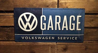 Volkswagen service Garage. Extra Large Advertising metal sign. Embossed sign.