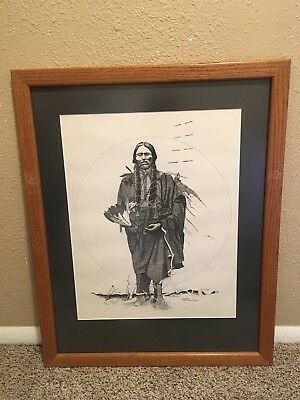 Vintage 1981 Dan Burnett Signed Native American Chief Pencil Drawing Framed