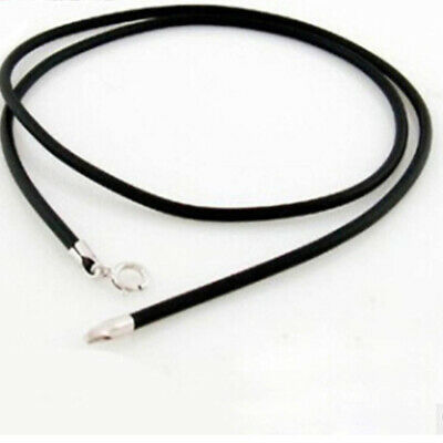 Silver Clasp Necklace Sterling Gift String Women's Rope Leather Black Cord
