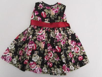 BLACK and ROSE PRINT DRESS  Fits Chatty Cathy  American Girl FREE SHIPPING