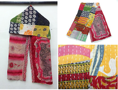 Cotton Scarf Stole Indian patchwork Hand Nakshi Kantha Work Embroidery Scarf