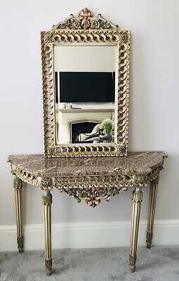 LOVELY ANTIQUE 19th CENTURY FRENCH MARBLE TOP PAINTED CONSOLE TABLE & MIRROR