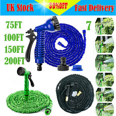 EXPANDABLE FLEXIBLE GARDEN HOSE PIPE 7 SETTING SPRAY GUN + 3x EXPANDING FITTING
