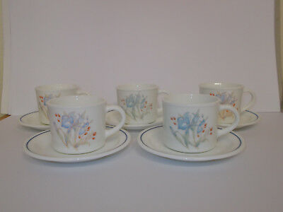 5 x Pyrex Blue Iris Cups and Saucers Floral Design Vintage Lovely