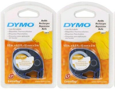 2 GENUINE Dymo Letratag Iron on Labels