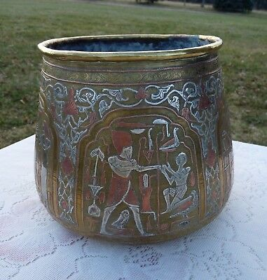 Antique EGYPTIAN Middle Eastern Damascene Silver & Copper Inlay on Brass VESSEL