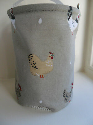 Hanging Clothes Peg Bag Laundry Pot Handmade, Sophie Allport Hen Fabric