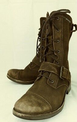 bd2c16886be UGG MARELA WOMENS Boots Combat US 6.5 Brown Distressed Suede Cap Toe 1442