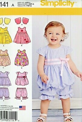 4a34bffbb3a5 Toddlers Summer Outfits Simplicity Pattern 1141 Sz. XXS - L, 5 Pieces Uncut