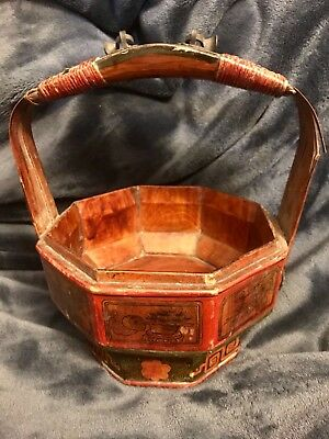 Antique Chinese Hand Painted Wooden Wedding Basket
