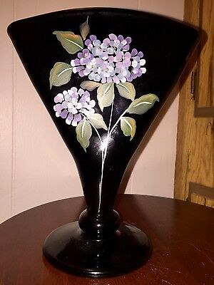 Gorgeous Fenton Black Fan Vase ~ Hand Painted Floral Pattern Signed - EUC