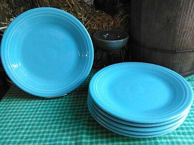 "set lot 6 DINNER PLATES turquoise blue HOMER LAUGHLIN FIESTA WARE 10.5"" NEW"