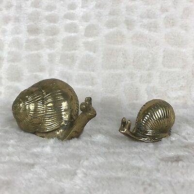"Lot Of 2 Vintage Brass Snails Decor Collectible MCM 5.5"" 3.25"" *Read"